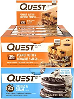 Quest Nutrition Protein Bar Cookie Smash-Up (Cookies and Cream and Smashbar). Low Carb Meal Replacement Bar with Over 20gr...