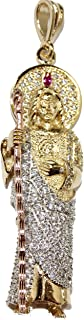 San Judas Tadeo - St. Jude Thaddeus 18k Gold Plated Three Tone Gold with 22 Inch Chain with Clear CZ