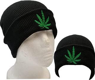 Cuff Black Marijuana Weeds Leaf Knit Beanie Skull Cap Kush Beanie Winter Hat