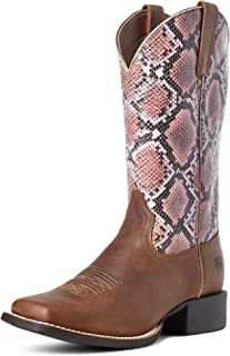 ARIAT Round Up Wide Square Toe H2O Tan Bomber/Pink Snake 9.5 B (M)