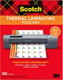 Scotch Thermal Laminating Pouches, 100-Pack, 8.9 x 11.4...