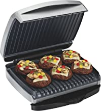 Proctor Silex 6-Serving Electric Indoor Grill, Quick Cooking, Removable Nonstick Easy Clean Grids, Silver (25336)