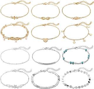 Softones 12-16 عدد دستبند مچ پا برای زنان دخترانه طلا نقره ای دو سبک زنجیره ای دستبند دستبند طلا و جواهر ، اندازه قابل تنظیم