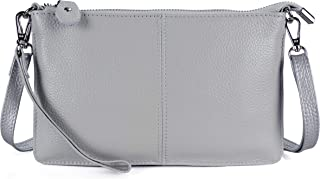 Women's Leather Wristlet Mini Crossbody Bag, Small Shoulder Bag Clutch Purse with Card Slots