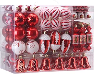 Sea Team 155-Pack Assorted Shatterproof Christmas Ball Ornaments Set Decorative Baubles..