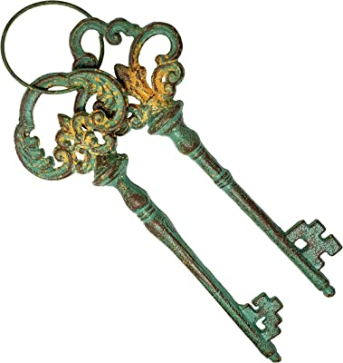 """Rainbow Trading RT5076 Decorative 12"""" Cast Iron Keys on Ring, Distressed Antique Appearance"""