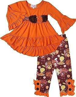女婴万圣节感恩节土耳其套装套装 - 束腰上衣打底裤/裤子套装