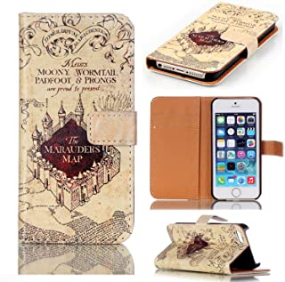 Hogwarts Marauder's Map Pattern Slim Wallet Card Flip Stand Leather Pouch Case Cover for Apple iPhone 6/6S 4.7 inch New Arrivel- Cool as Great Xmas Gift (Shipped from US, 3-7 Days to delivery!)