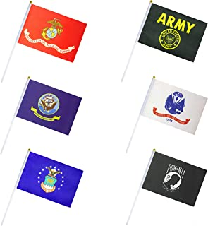 ALEY 48 Pack US Military Armed Forces Army Stick Flag Set Small Mini Desk Flags Party Decorations