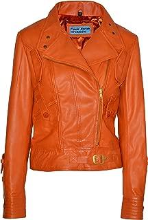 Smart Range Supermodel Ladies Orange Biker Style Designer Real Nappa Italian Leather Jacket