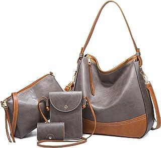 LUOWAN Handtasche Damen Gross Leder Groß Henkeltasche Umhängetasche Schultertasche Taschen Shopper 4pcs Set (grau)