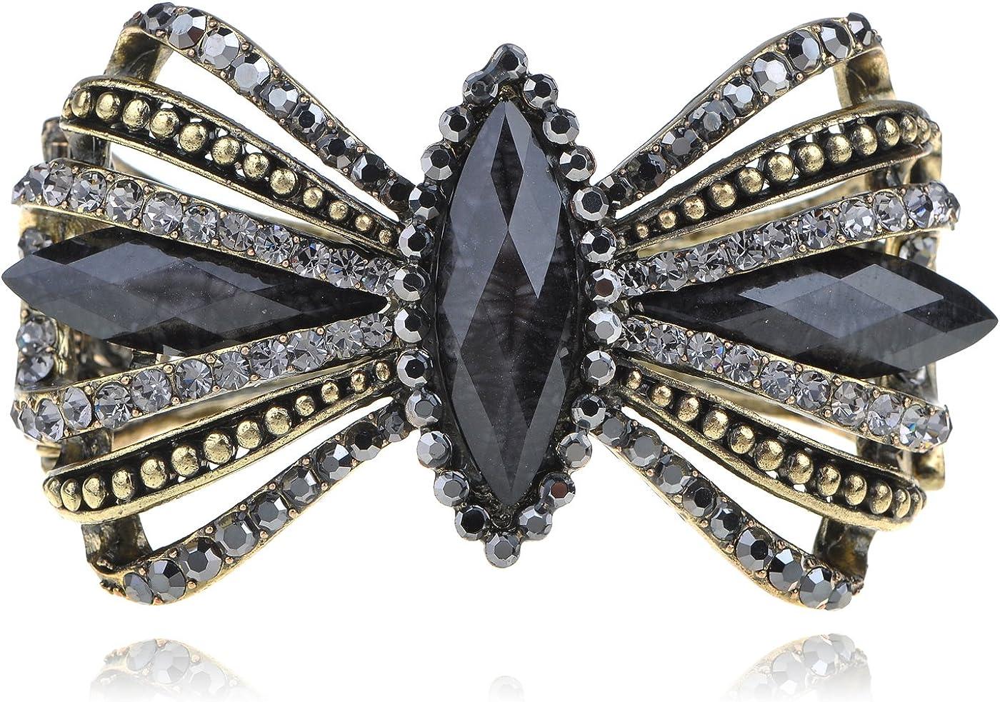 Alilang Vintage Glam Golden Tone Crystal Rhinestone Encrusted Ri