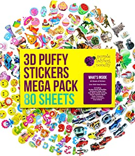 Purple Ladybug 3D Puffy Stickers for Kids & Toddlers Mega Variety Pack - 80 Different Sticker Sheets with Over 1900 Cute Stickers in Bulk! Includes Stars, Animals, Alphabet, Cars, Emoji Faces, More!