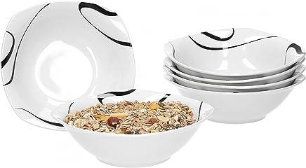 Preisvergleich für Van Well Galaxy 6er Set Müslischale, Suppenschale, kleine Schale, Ø 14,3 cm, 300 ml, Liniendekor, edles Marken-Porzellan