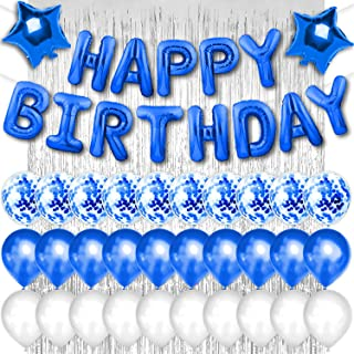 PartyForever Blue Happy Birthday Balloon Party Decorations Banner and Supplies Kit for Men and Women with Silver Foil Frin...