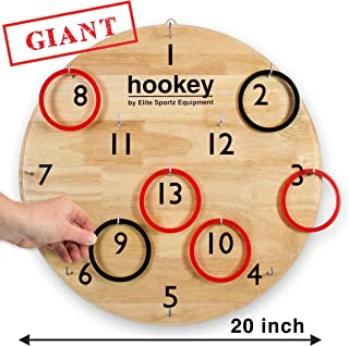 """Elite Hookey Ring Toss Games - Gifts for Men, Games for Boys or Girls - Our Beautifully Finished 20"""" Giant Hookey is an Easy Set Up, Simply Hang and Play. Safe Kids Gift"""