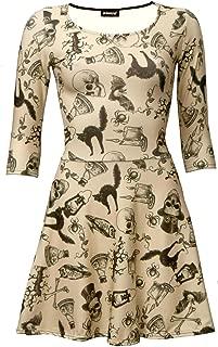 Vintage, Bats, Skulls, Owl, Spider, Spooky Cat, Steampunk Skull Halloween 3/4 Sleeve Skater Dress