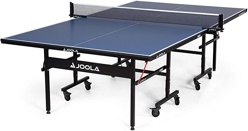 JOOLA Inside - Professional MDF Indoor Table Tennis Table with Quick Clamp Ping Pong Net and Post Set - 10 Minute Easy Assembly - Ping Pong Table with Single Player Playback Mode