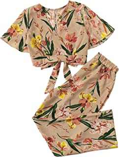 Women Crop Tops Palazzo Wide Leg Pants Sets Boho Floral Two Piece Outfit