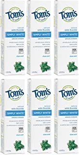 Tom's of Maine Natural Simply White Toothpaste, Sweet Mint Gel, 4.7 Ounce, Pack of 6