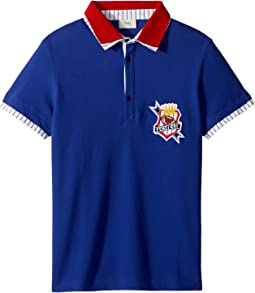 Short Sleeve Polo T-Shirt w/ Football Design On Front (Big Kids)