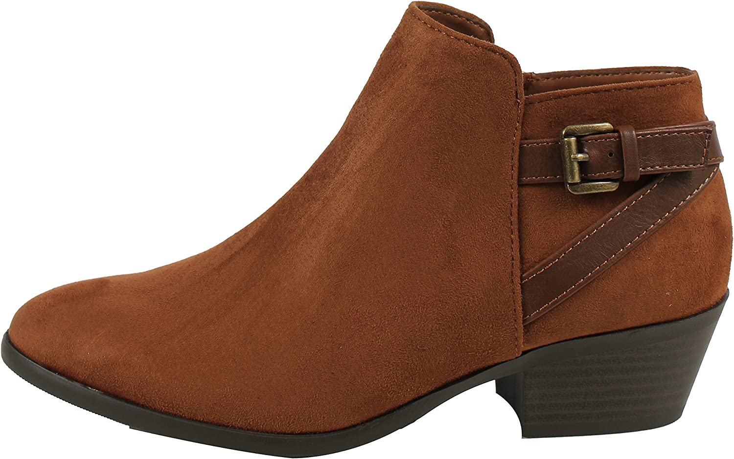 Soda Women's Closed Toe Faux Suede with Faux Leather Buckle Strap Chunky Stacked Heel Ankle Boot