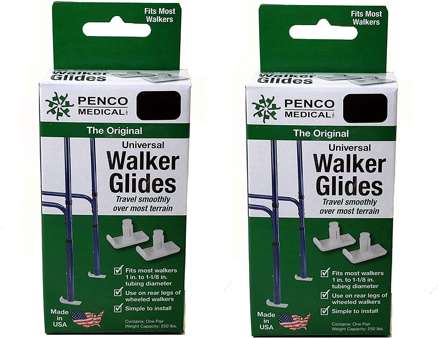 Penco Medical All items mart free shipping Universal Walker Black - 2 Glides