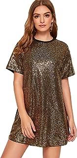 Women's Sequin Short Sleeve Glitter Loose Mini Party Dress T-Shirt