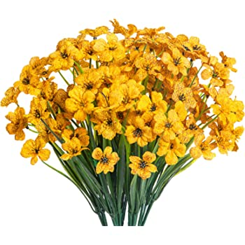 15 Bouquets Artificial Flowers Outdoor UV Resistant Fake Flowers No Fade Faux Plastic Plants Garden Porch Window Box Decorating (Yellow)