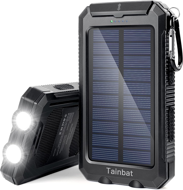 Solar Power Bank, Waterproof Portable Solar-Charger 20000mAh Black