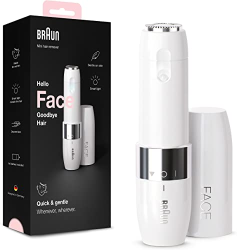 Braun Face Mini Hair Remover FS1000 Electric Facial Hair Removal for Women Facial Hair Remover Quick Gentle Finishing Touch for Upper Lips Chin Cheeks Ideal for On the Go with Smartlight White Color