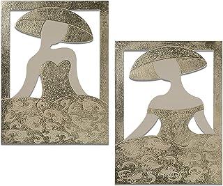 DRW Set de 2 Cuadros rectangulares de Madera con Meninas en Dorado 60x80cm