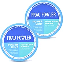 Frau Fowler Natural Oral Care - POWER MINT Tooth Powder, 2 Pack, Botanically Clean, Teeth-Whitening, Remineralizing, Fluoride Free, Gluten Free, SLS Free -Restores Enamel and Freshens Breath, 4 oz