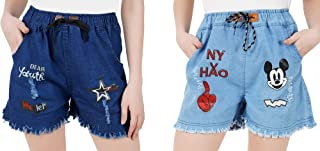 WILFREDO Dark Blue DAER Youth & Light Blue NY Rough Look Denim Shorts for Women's (Pack of 2)