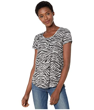 Vince Camuto Short Sleeve Zebra Highlight Burnout Scoop Neck Tee (Silver Heather) Women
