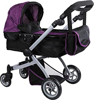 Babyboo Deluxe Doll Pram Color Purple & Black with Swiveling Wheels & Adjustable Handle & Free Carriage Bag - 9651B PRP
