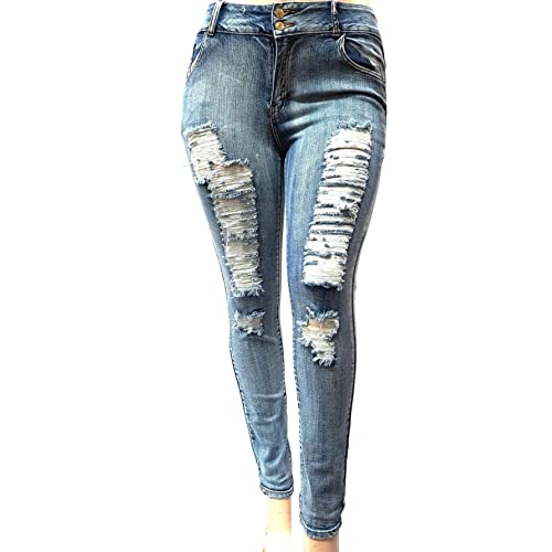 31593aef5a4 Jack David Sweet Look Pasion Womens Plus Size Acid Wash Distressed Ripped  Blue Skinny