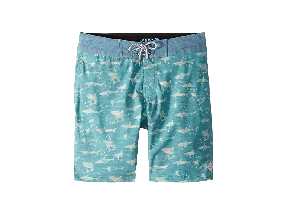 Rip Curl Kids Single Fin Layday Boardshorts (Big Kids) (Teal) Boy