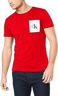 Calvin Klein Jeans Men's Monogram Pocket Slim Tee, Barbados Cherry/Bright White, L