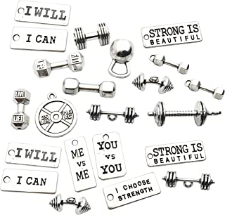 Sports Charms-100g (about 32pcs) Strength Tags Kettle bell dumbbell barbell weight mix charms Sport charm Fit DIY Fitness Necklace Jewelry Making M39 (Sports Barbell weightlifting)