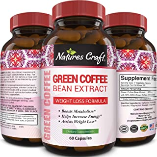 Pure Green Coffee Bean Extract – Standardized to 50% Chlorogenic Acid – Weight Loss Supplement for Men & Women – Burns Bot...