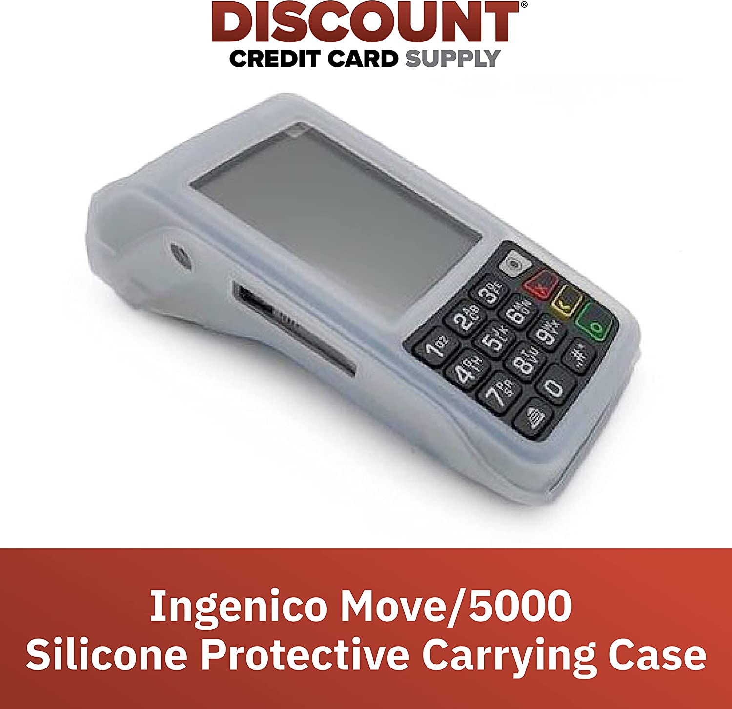 Discount Credit Card Supply Ingenico Move/5000 Protective Carrying Case, Translucent Silicone Credit Card Terminal Sleeve