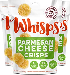 Whisps Parmesan Cheese Crisps| Keto Snack, No Gluten, No Sugar, Low Carb, High Protein | 2.12oz (3 Pack)