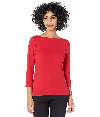 LAUREN Ralph Lauren Stretch Cotton Boatneck Top (Lipstick Red) Women