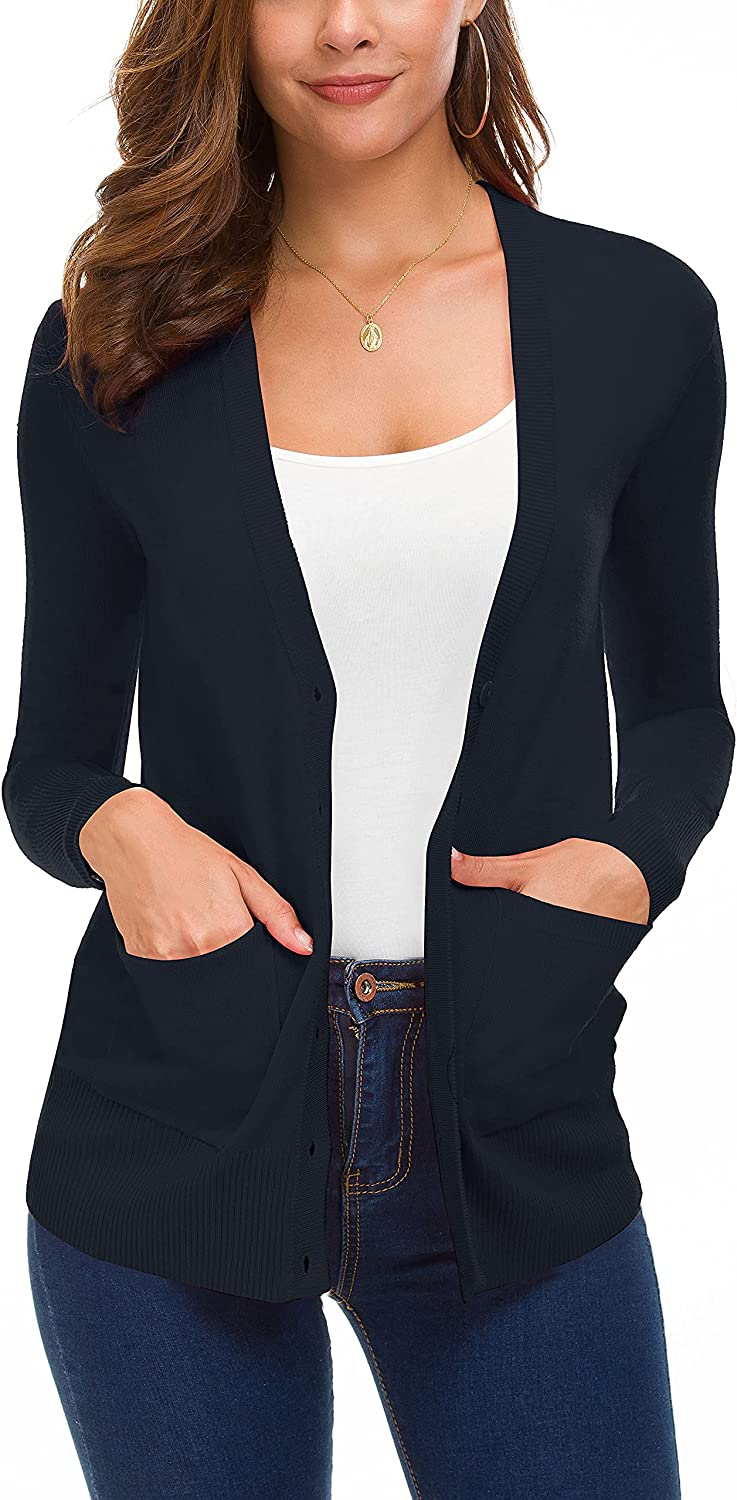 Urban CoCo Women's Button Down Lightweight Knit Cardigan Sweater with Pockets