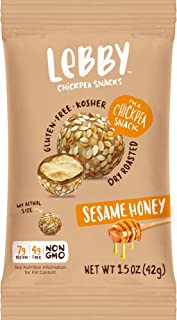 Lebby Chickpea Snacks (Sesame Honey, 1.5 oz, 12 pack), Gluten Free, Non-Dairy, Non-GMO, High Protein and Fiber, Healthy Snack