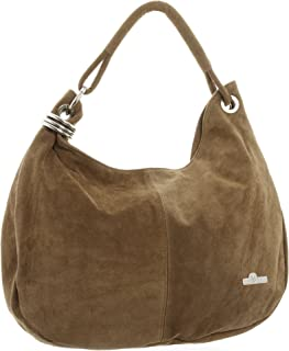 LiaTalia - Womens Girls Large Real Italian Suede Leather Single Strap Hobo Boho Slouch Handbag Purse - Fiona