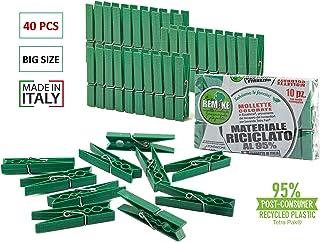Remake Pinzas para la Ropa ecológico (40 Piezas) 95% con Plástico Reciclado, Talla Grande. Ideal para lavandería y Fotos. Molde monobloque. Resistente y a Prueba de Viento