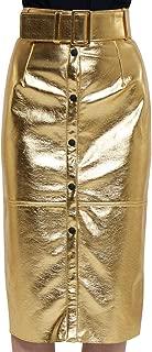MSGM Luxury Fashion Womens 2741MDD1119561605 Gold Skirt | Fall Winter 19