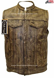 Dealer Leather MEN'S MOTORCYCLE DISTRESSED BROWN SON OF ANARCHY STYLE LEATHER VEST AMAZING (52 Regular)